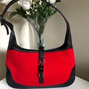 Vintage Gucci Red Fabric & Leather Jackie O Bag